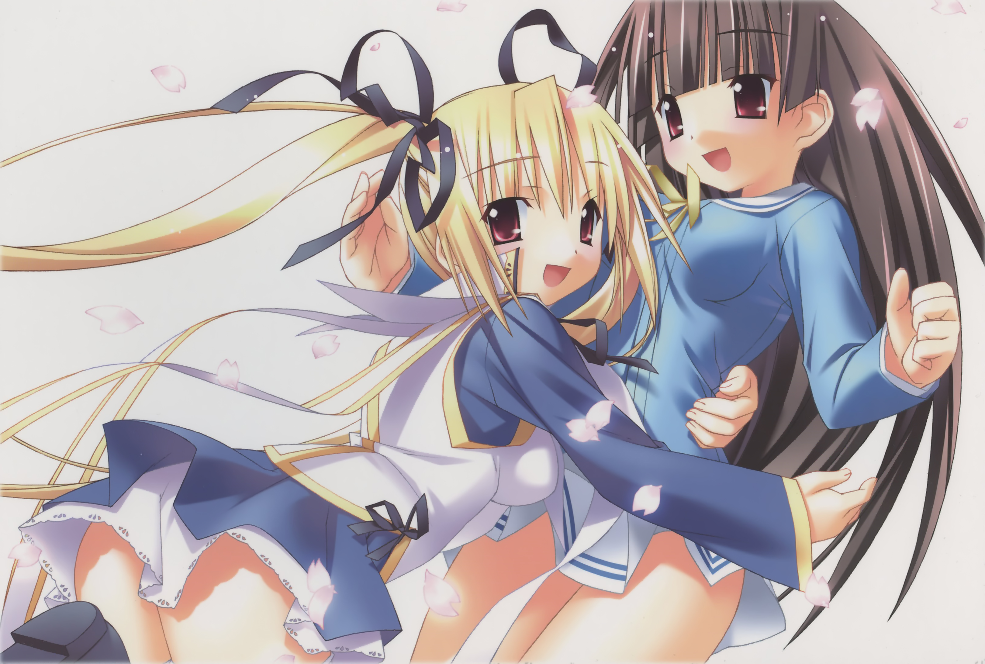 2girls Iinchou (princess Witches) Klucienne Roussel Petals Princess Witches Red Eyes Seifuku Twintails White2719