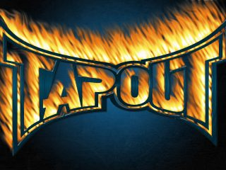 Tapout Blue Grunge Background Wide Orange Flames